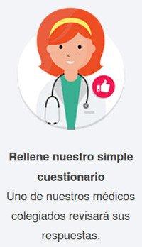 Completar el cuestionario médico y control de las respuestas por un médico licenciado