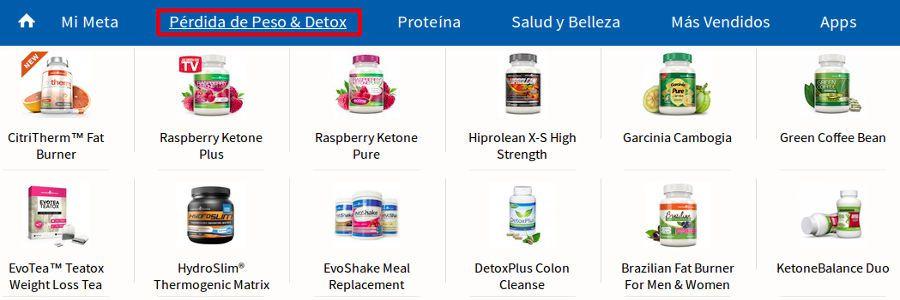 Consultar los productos de evolution-slimming de adelgazamiento y detoxificación