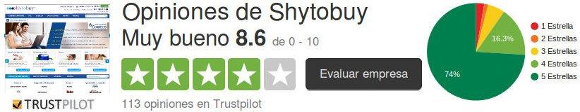 Opiniones de clientes y consumidores que dan una evaluación y calificación del sitio web shytobuy españa