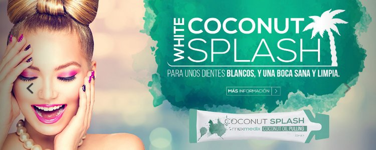 White coconut splash dientes blancos boca sana limpia