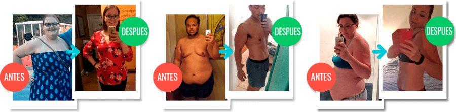 Imágenes anteriores y opiniones de clientes que usaron la dieta durante dos semanas