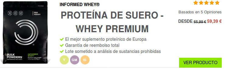 Proteína de suero Whey: basado en ingredientes de calidad creados por Bulkpowders y vendidos en España