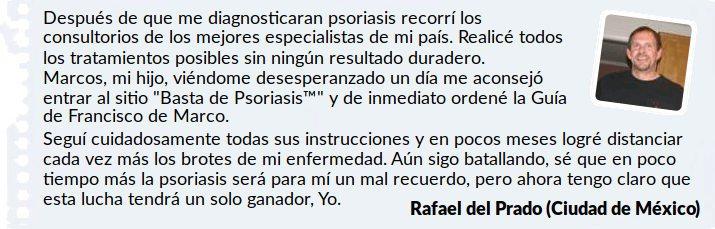 Rafael que testifica y da su opinión sobre la efectividad del libro de bastadepsoriasis.com