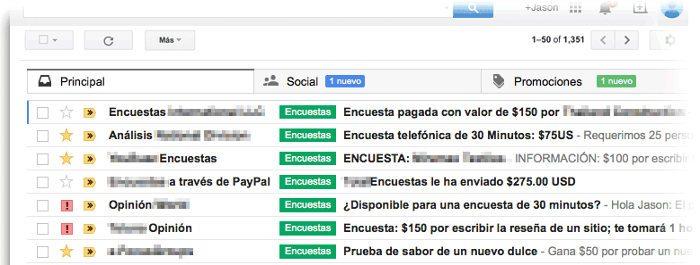 Vista previa de correos electrónicos recibidos en encuestas en España, México, Chile, Argentina y español