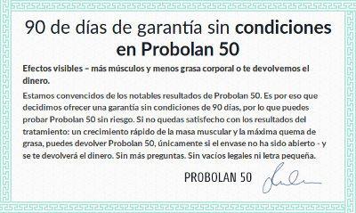 Garantía de devolución del dinero de 90 días para la compra de Probolan desde el sitio web oficial seguro